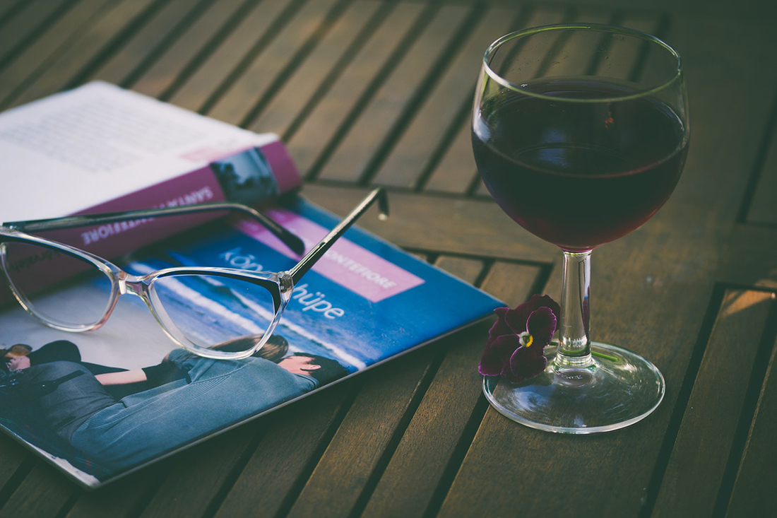 Wine glass with book